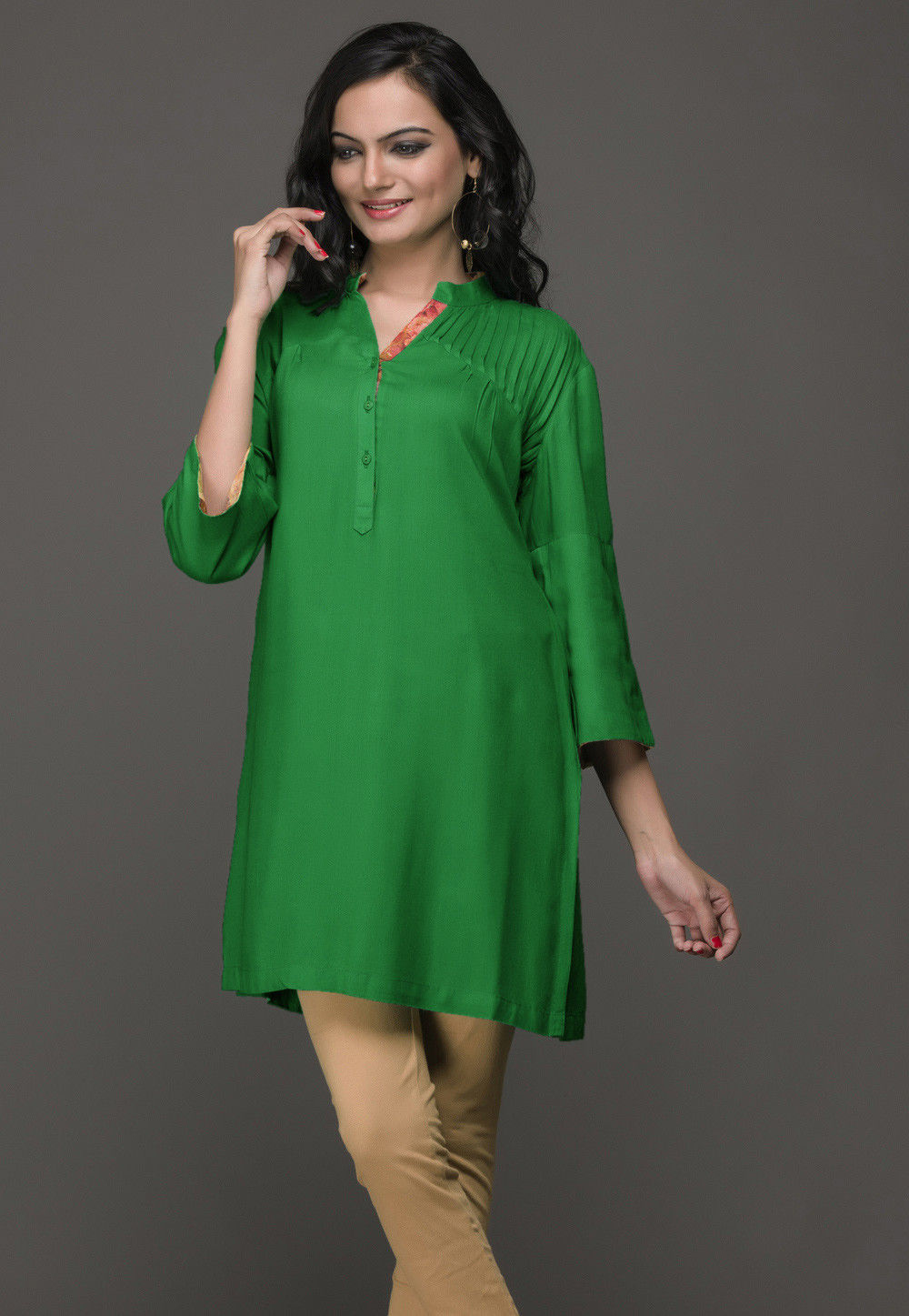 Cotton Rayon Kurti in Green