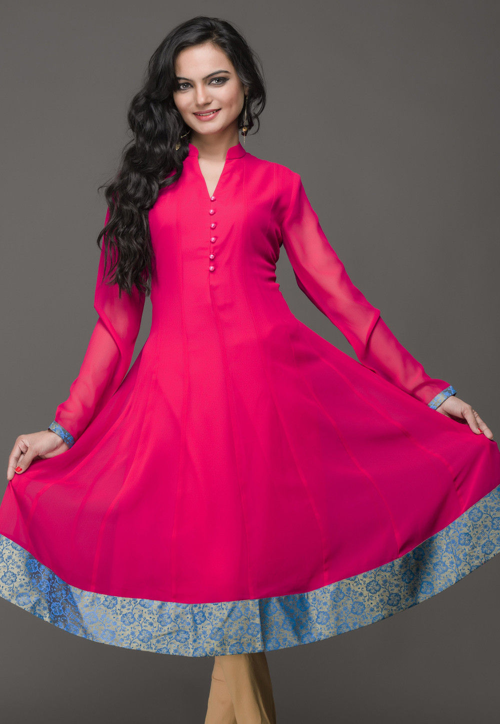 Georgette Long Kurta in Fuchsia