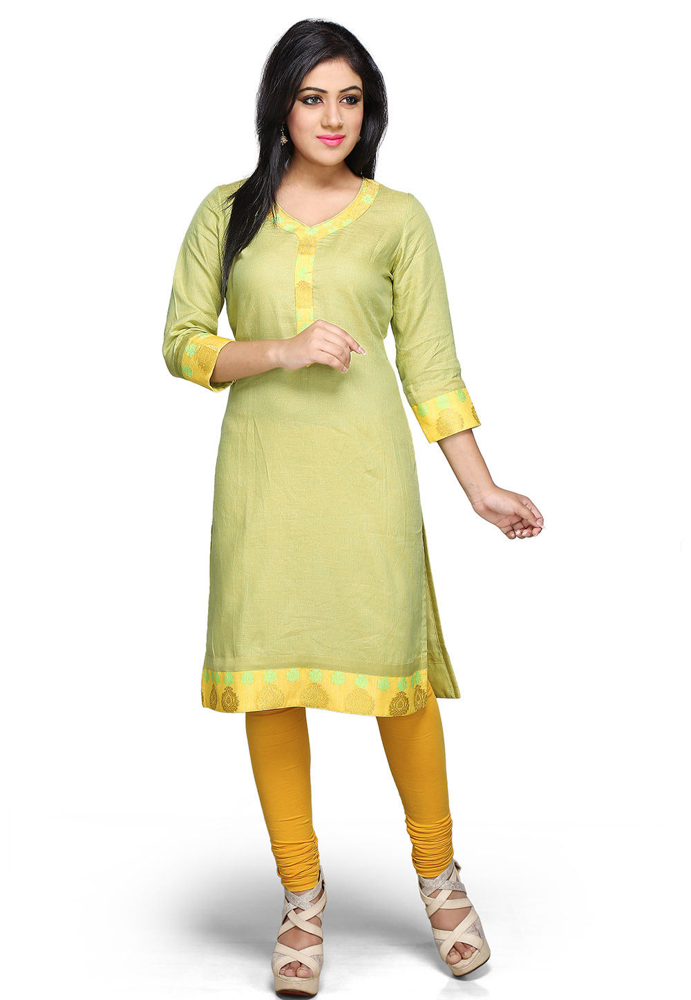 Pure Linen Long Kurta In Light Green