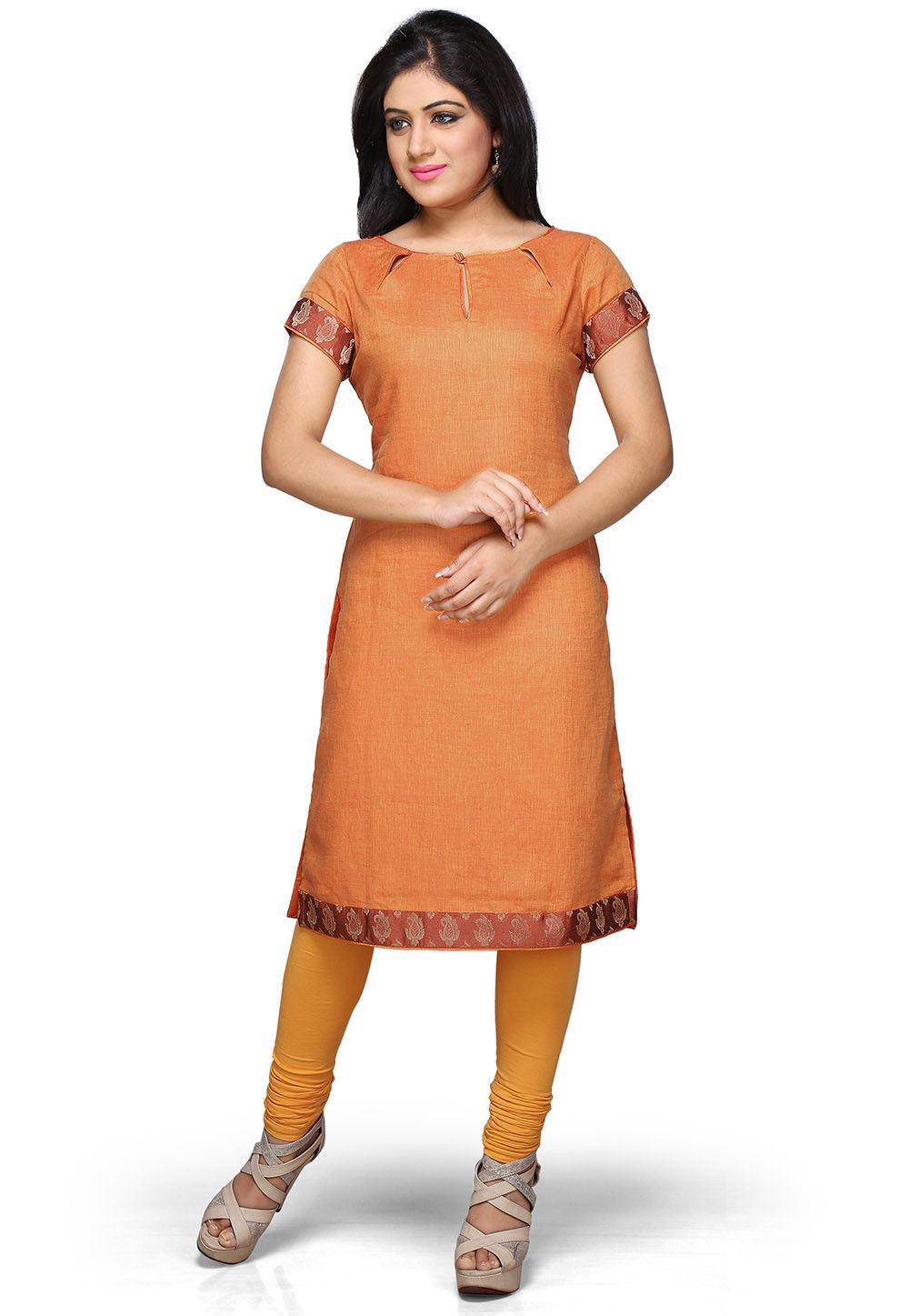 Pure Linen Long Kurta in Orange