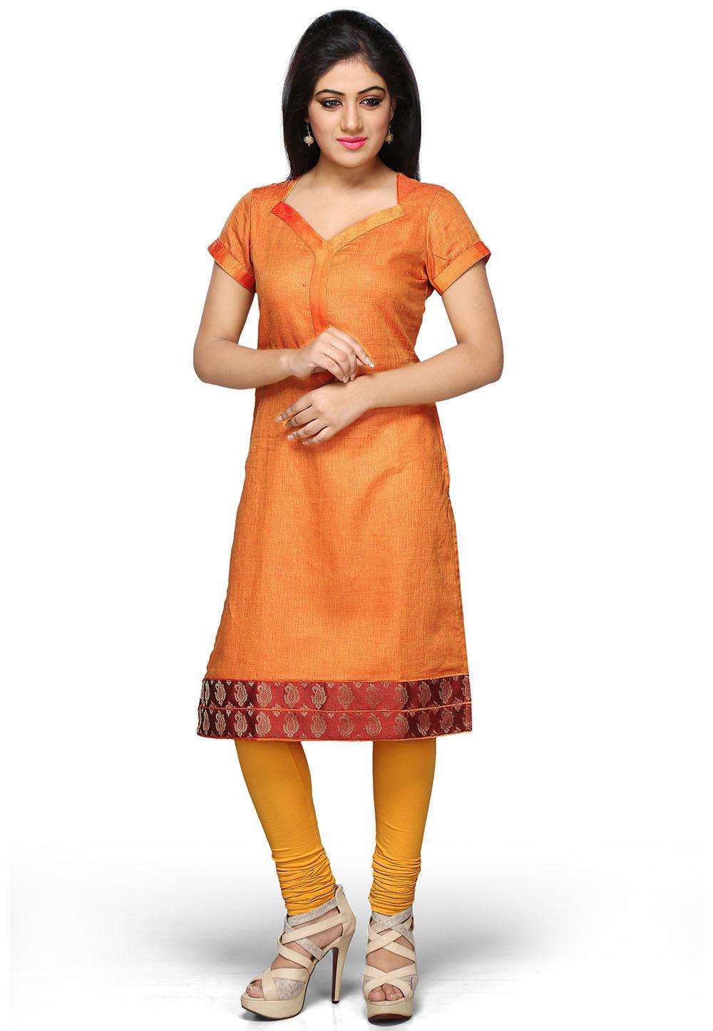 Pure Linen Kurta In Orange