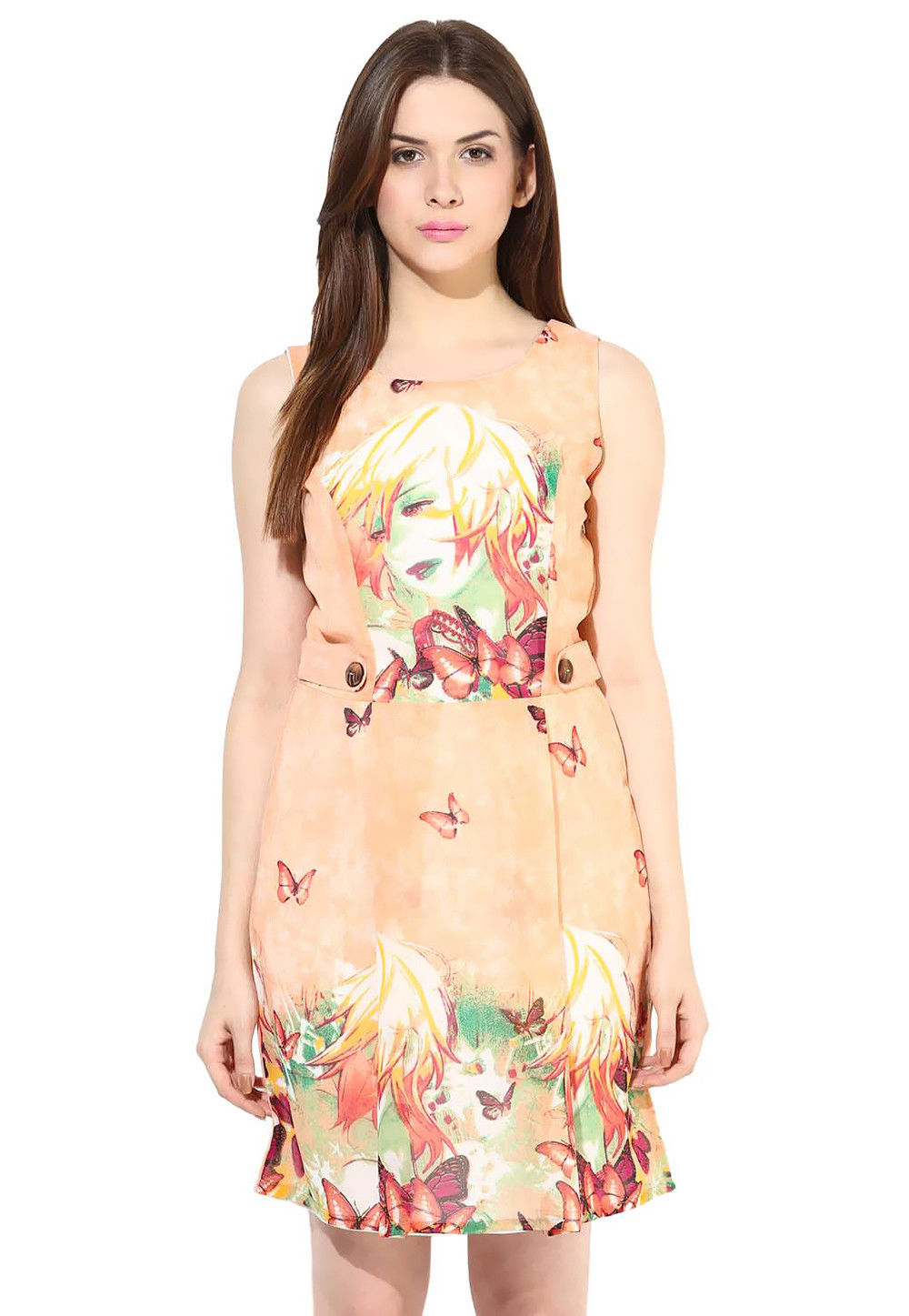 Printed Georgette Short Dress In Peach