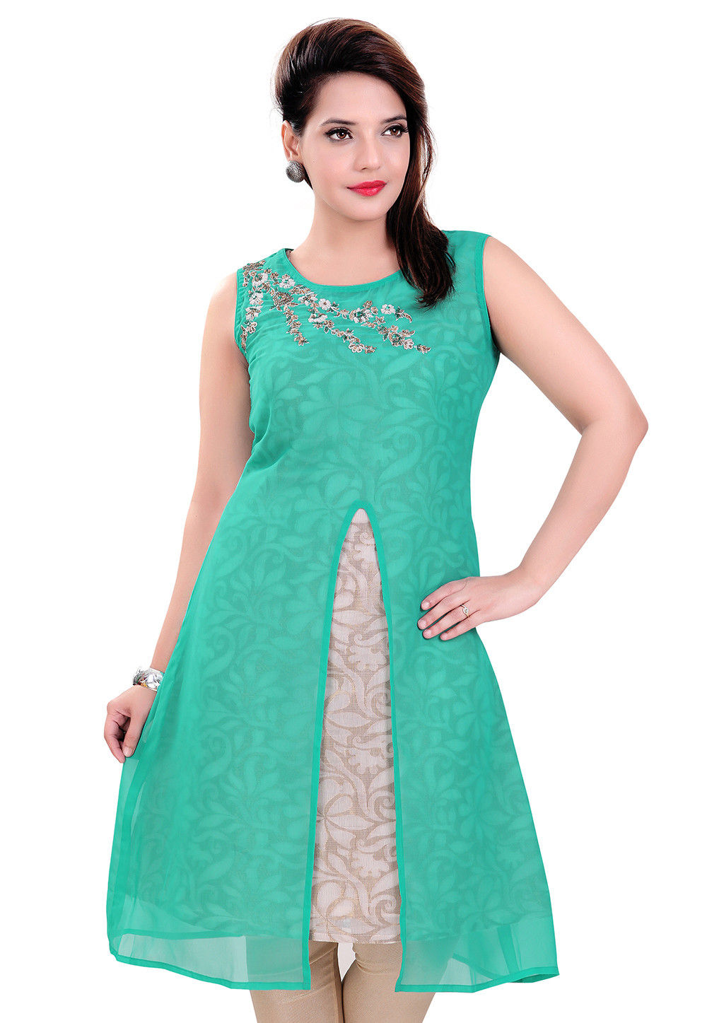 Embroidery Georgette Double Layered Tunic in Teal Green