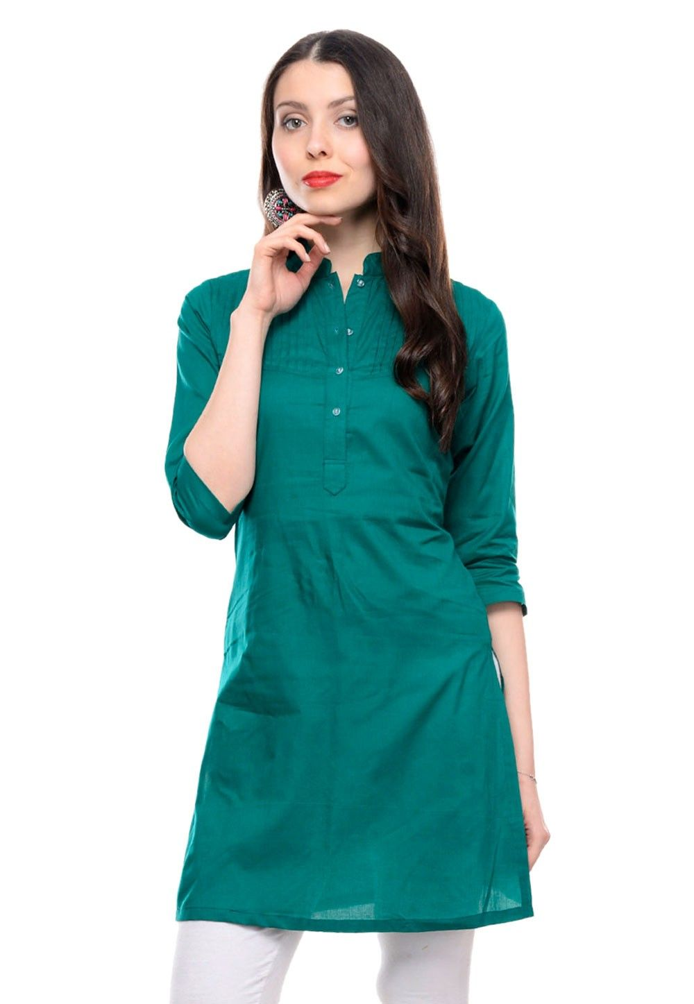 Cotton Kurti In Teal Blue
