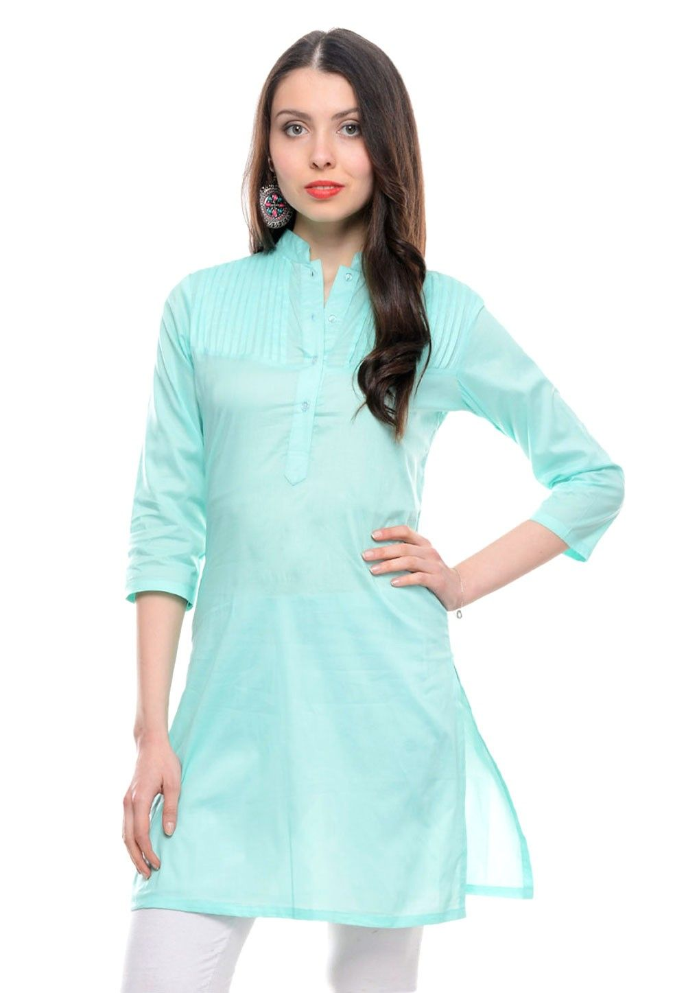 Cotton Kurti In Turquoise