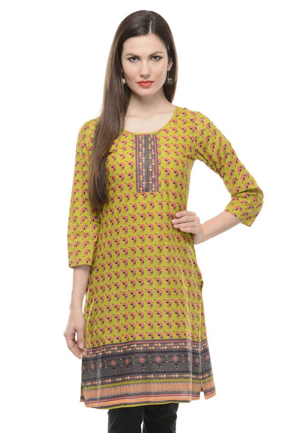 Printed Cotton Kurti in Olive Green