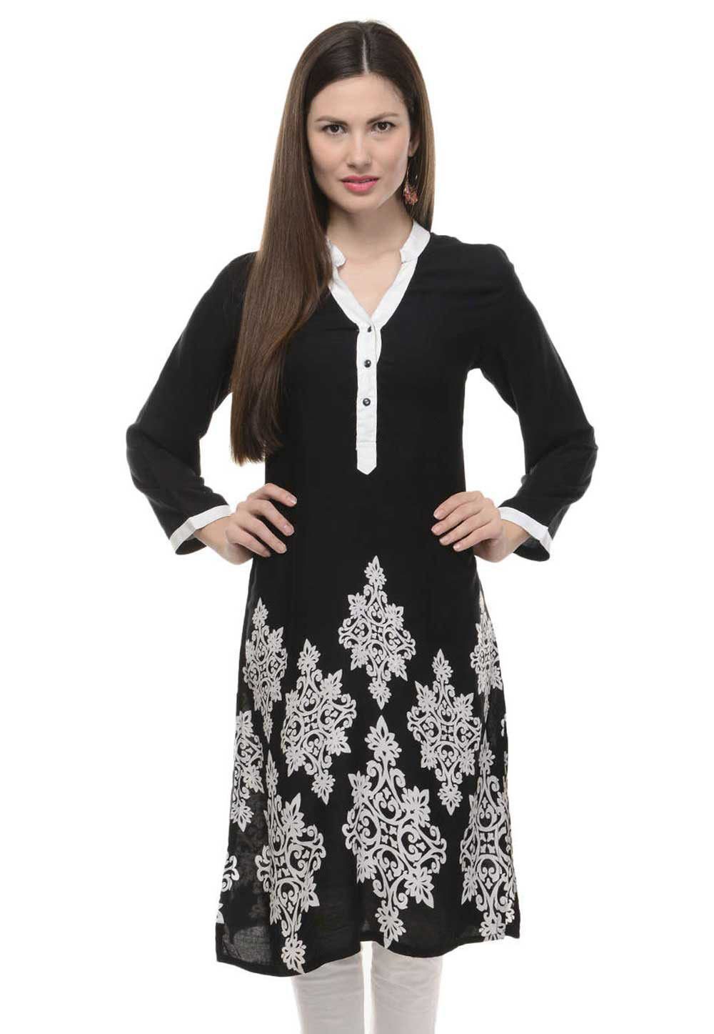 Printed Cotton Rayon Kurta in Black