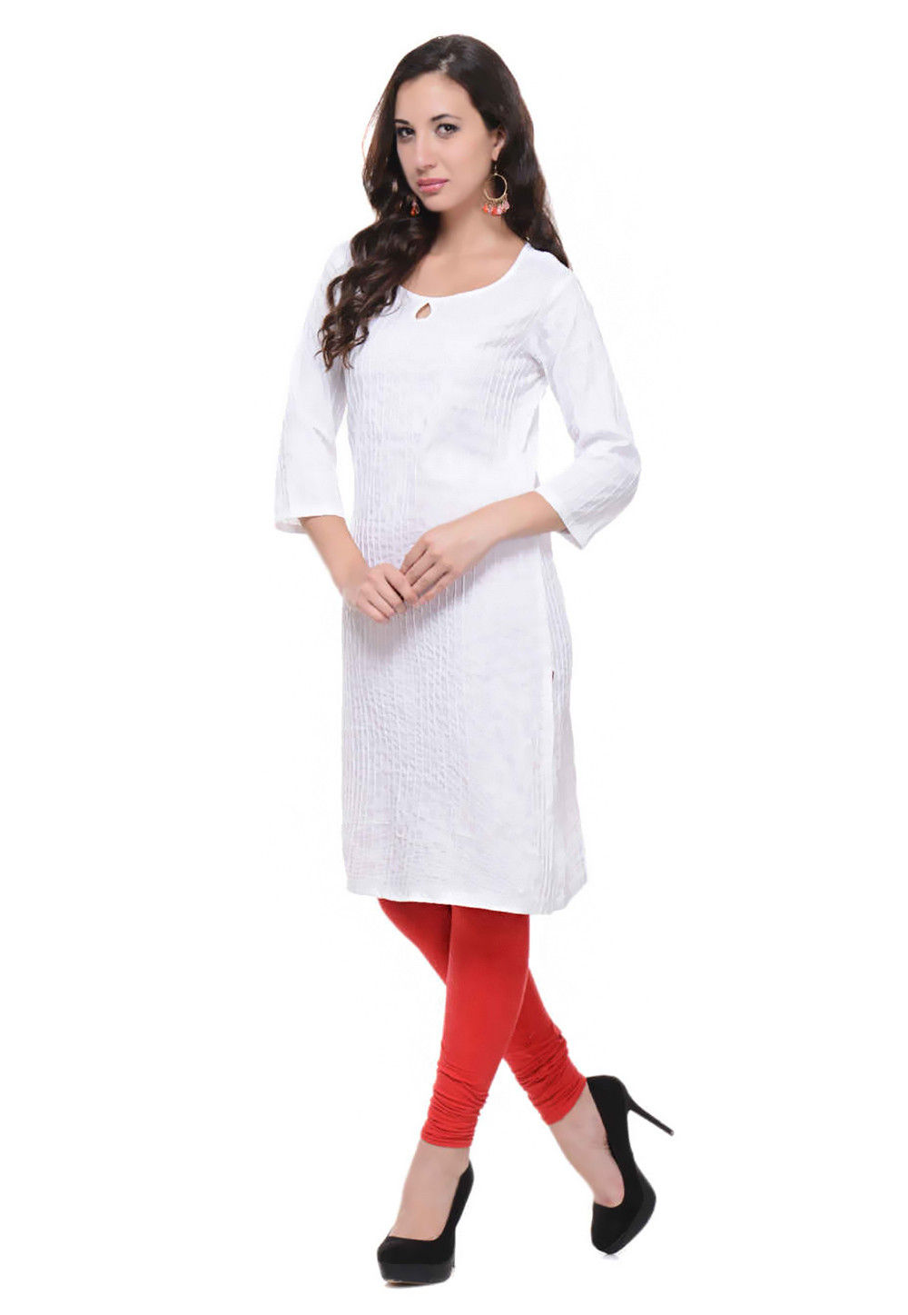 Cotton Long Kurta In White