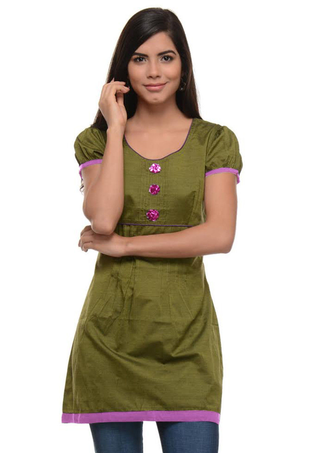 Cotton Kurti In Olive Green