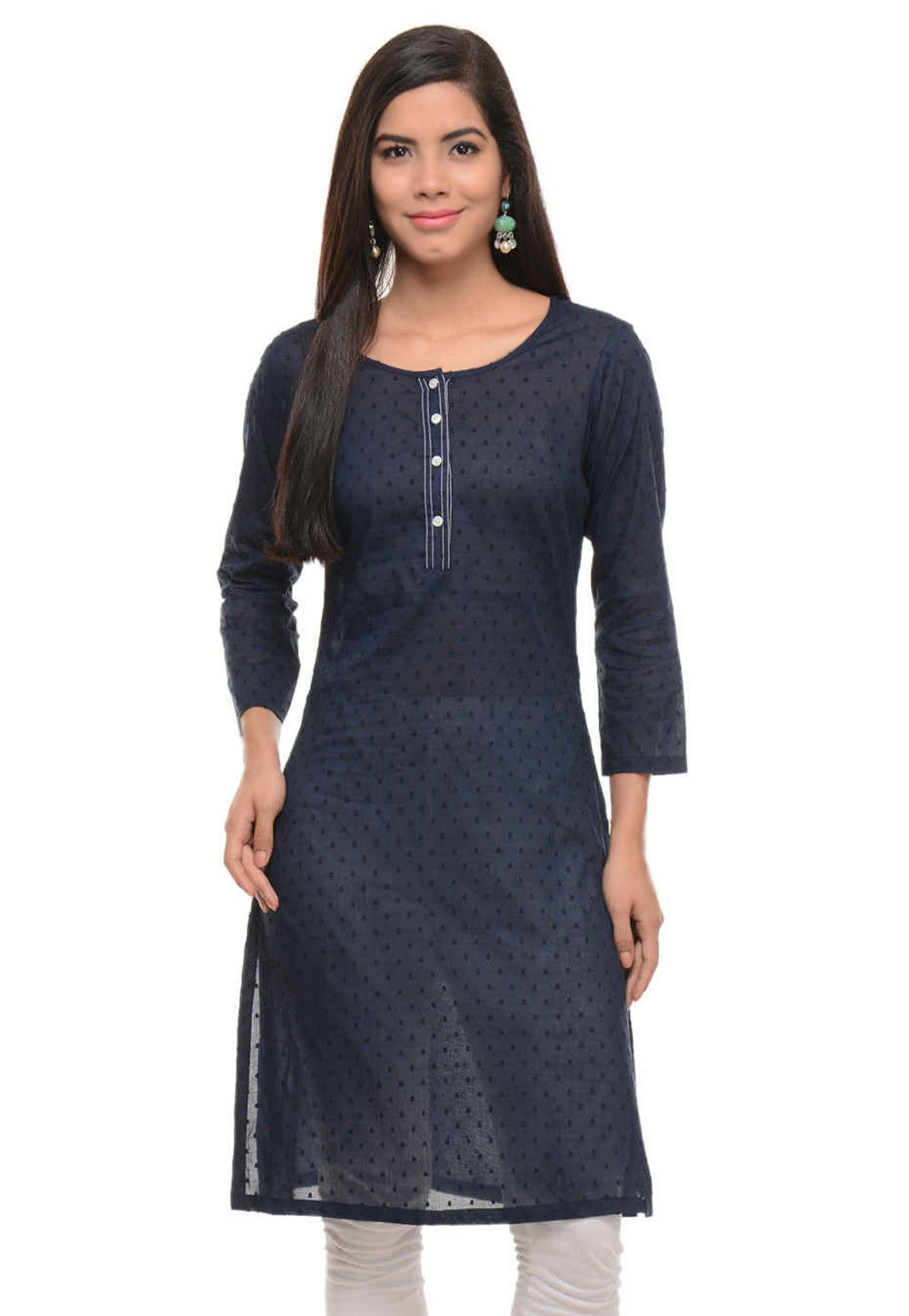 Cotton Jacquard Kurta in Navy Blue