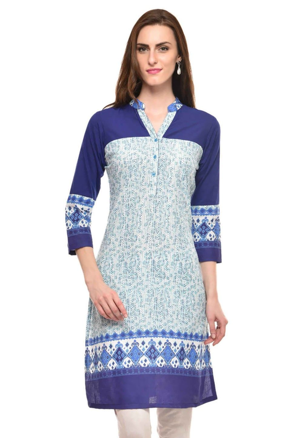 Printed Cotton Kurti In Blue and White