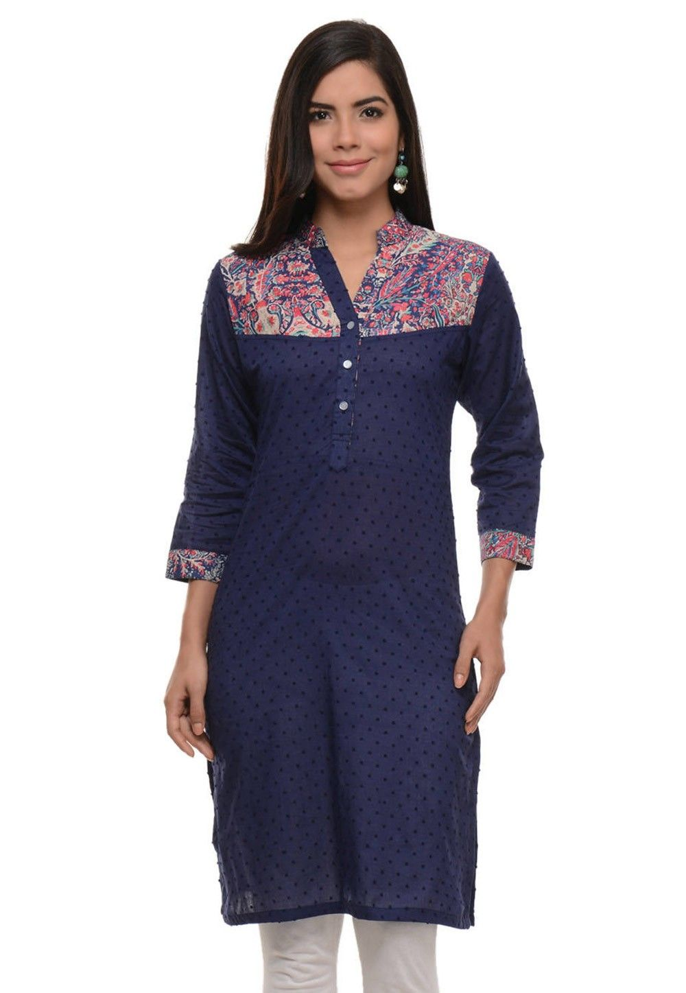 Printed Cotton Jacquard Kurti In Navy Blue