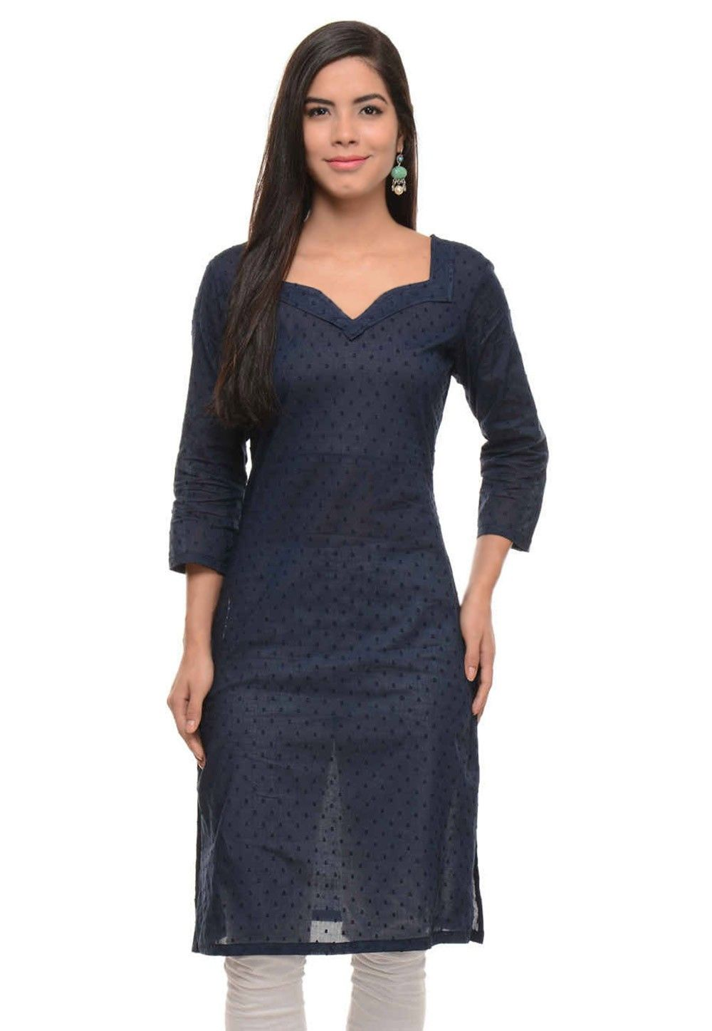 Cotton Jacquard Kurti In Navy Blue