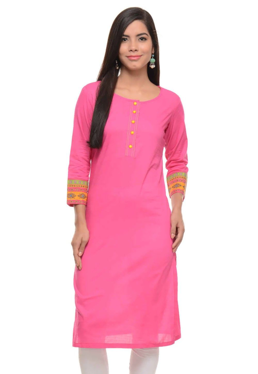 Cotton Long Kurta In Pink