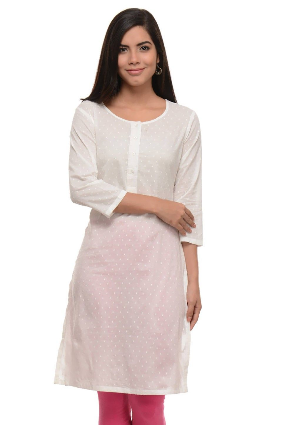 Woven Cotton Jacquard Kurti In White