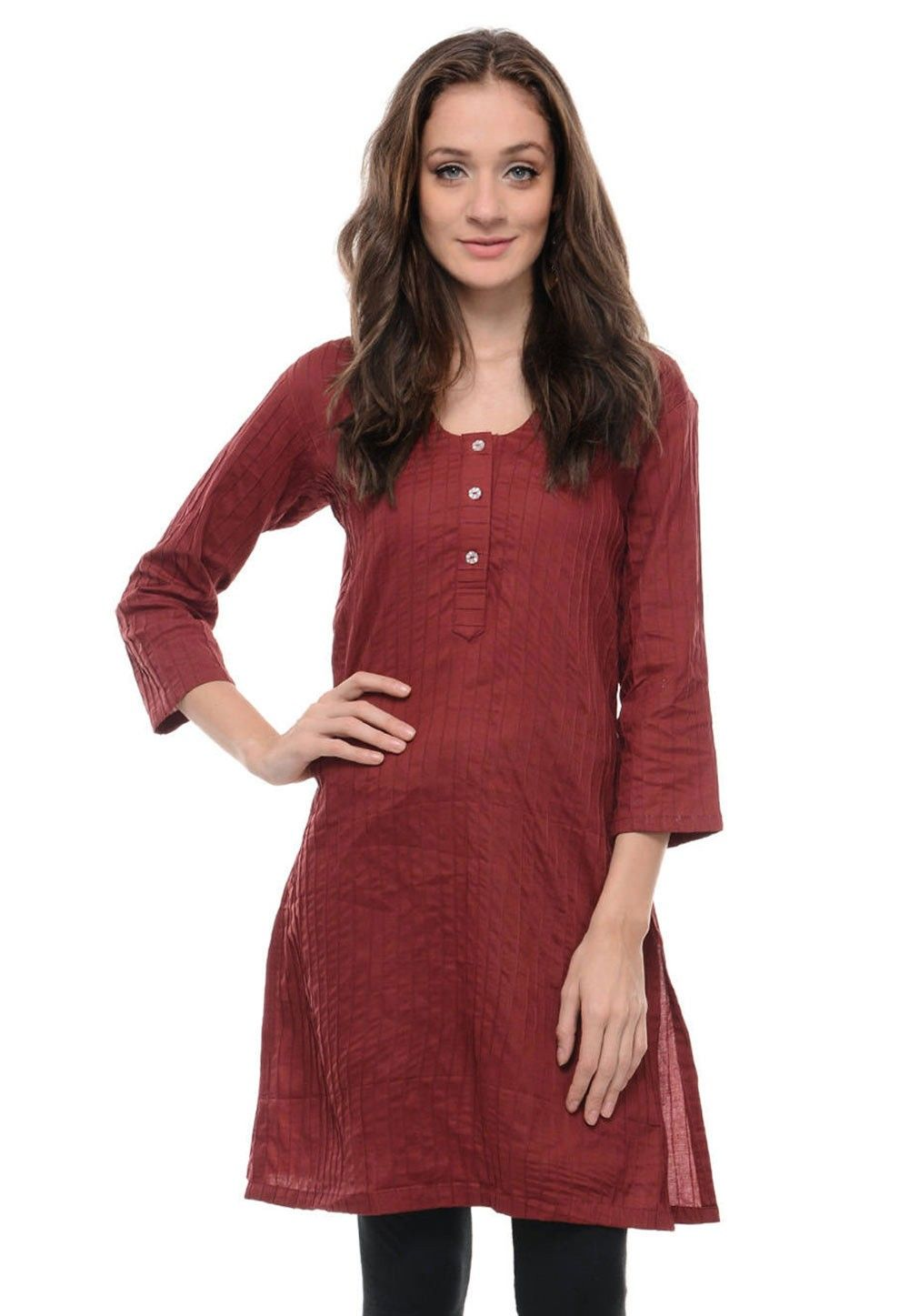Cotton Kurti In Maroon