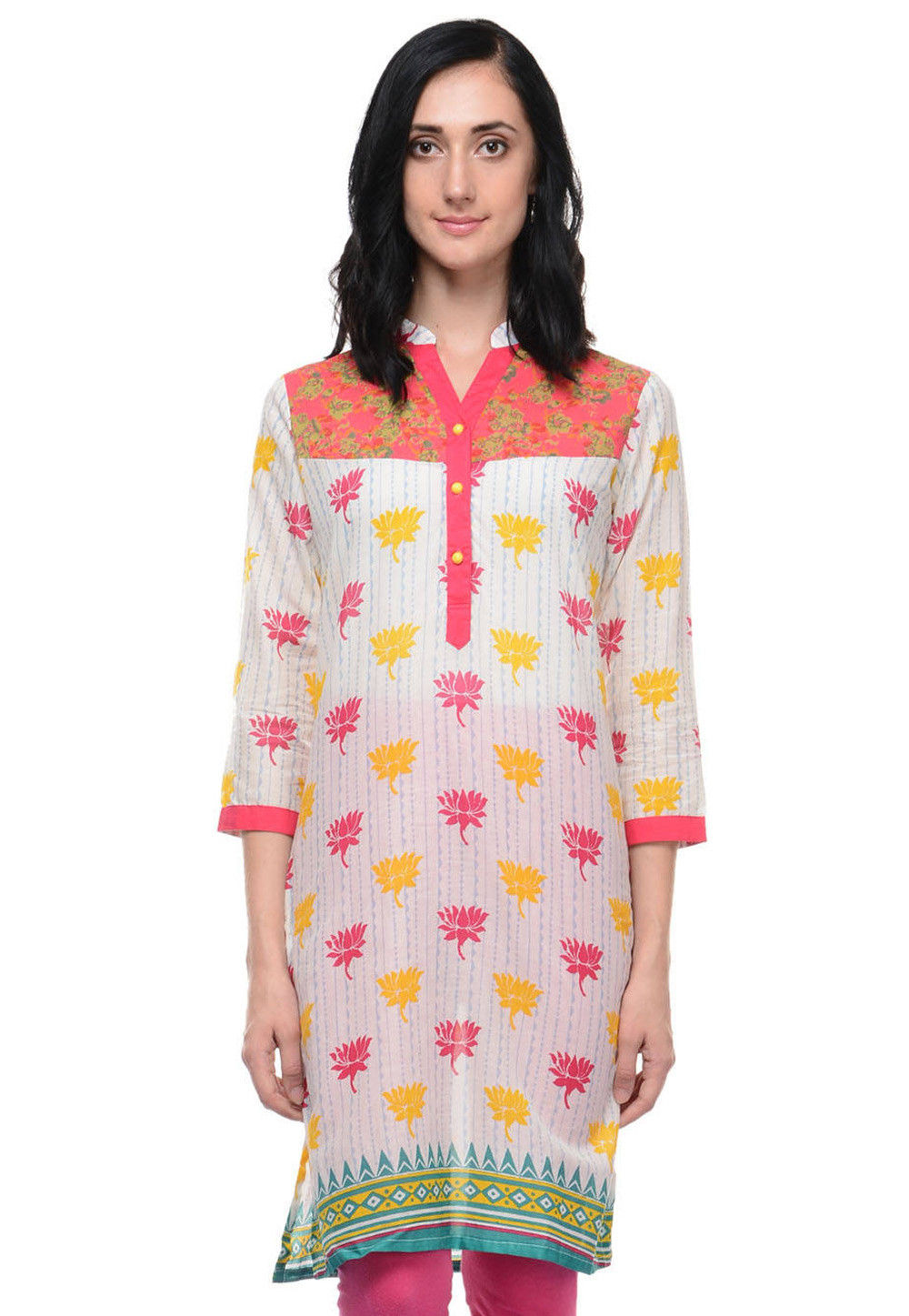 Printed Cotton Kurti in Off White