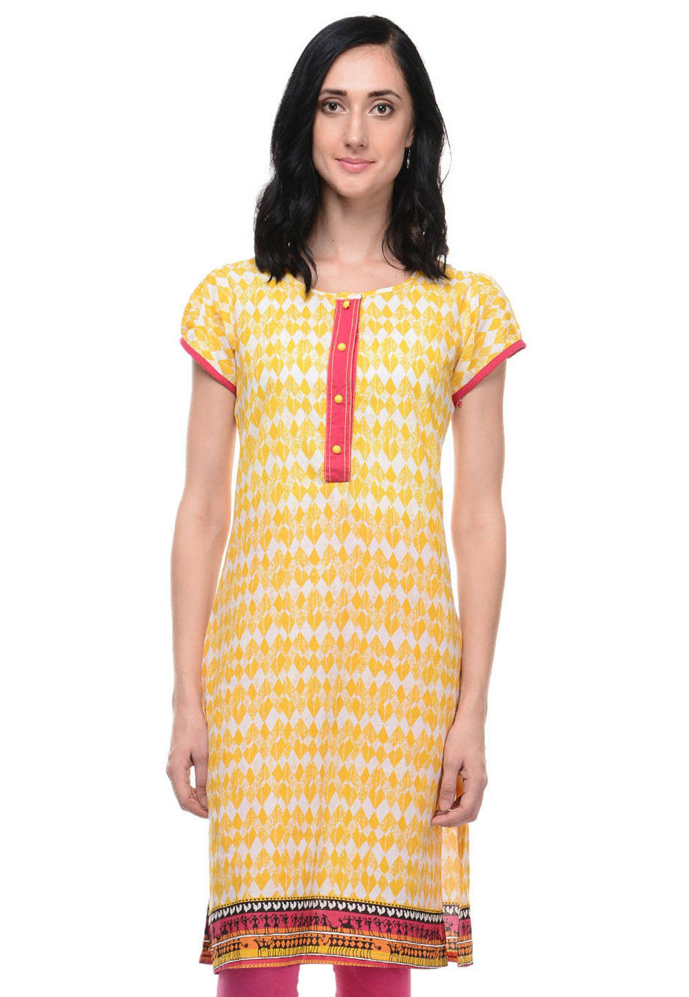 Printed Cotton Kurti in Yellow