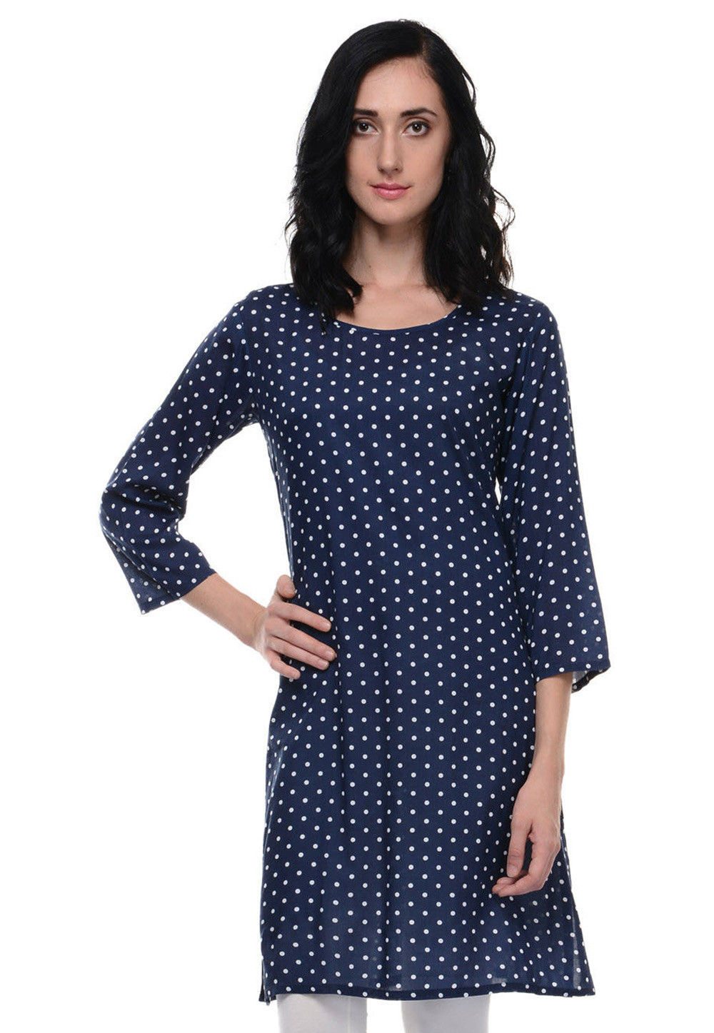 Printed Cotton Kurti In Navy Blue