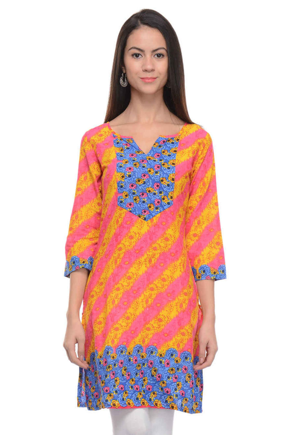 Printed Cotton Kurti In Pink