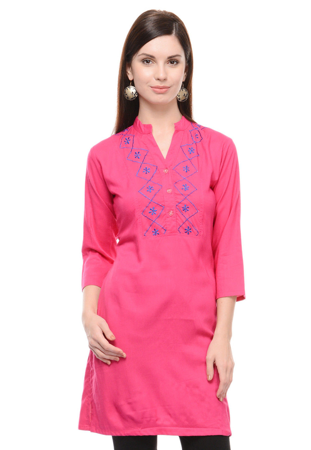 Embroidered Rayon Kurti In Pink
