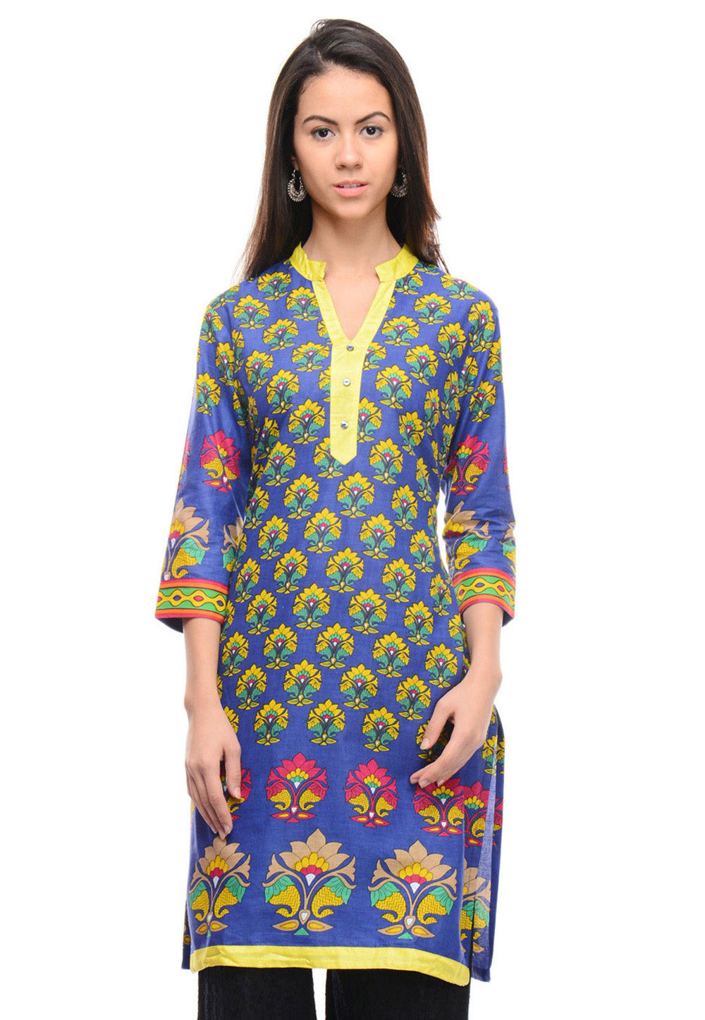 Printed Cotton Kurta In Blue