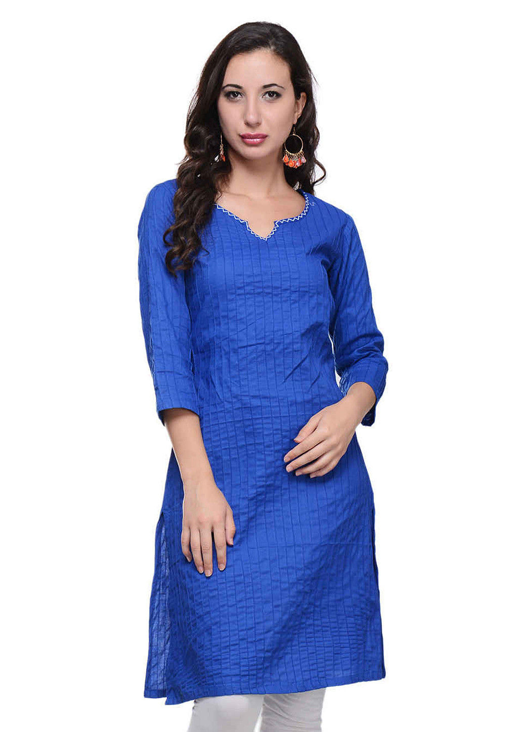Plain Cotton Kurti in Royal Blue