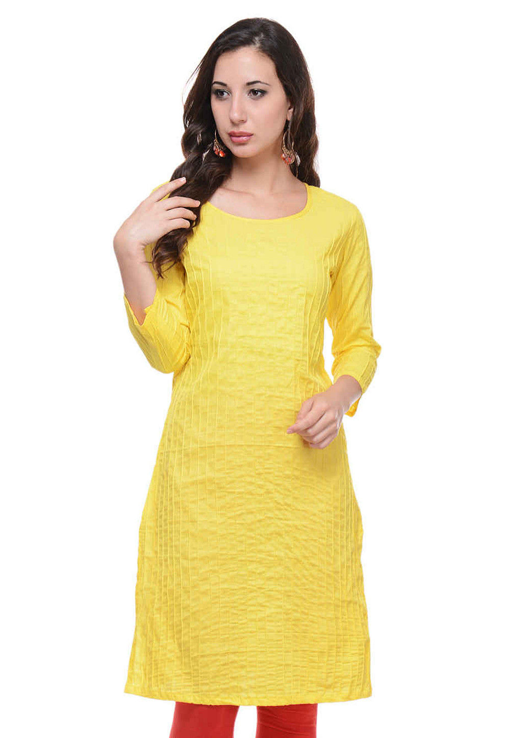 Plain Cotton Kurti in Yellow