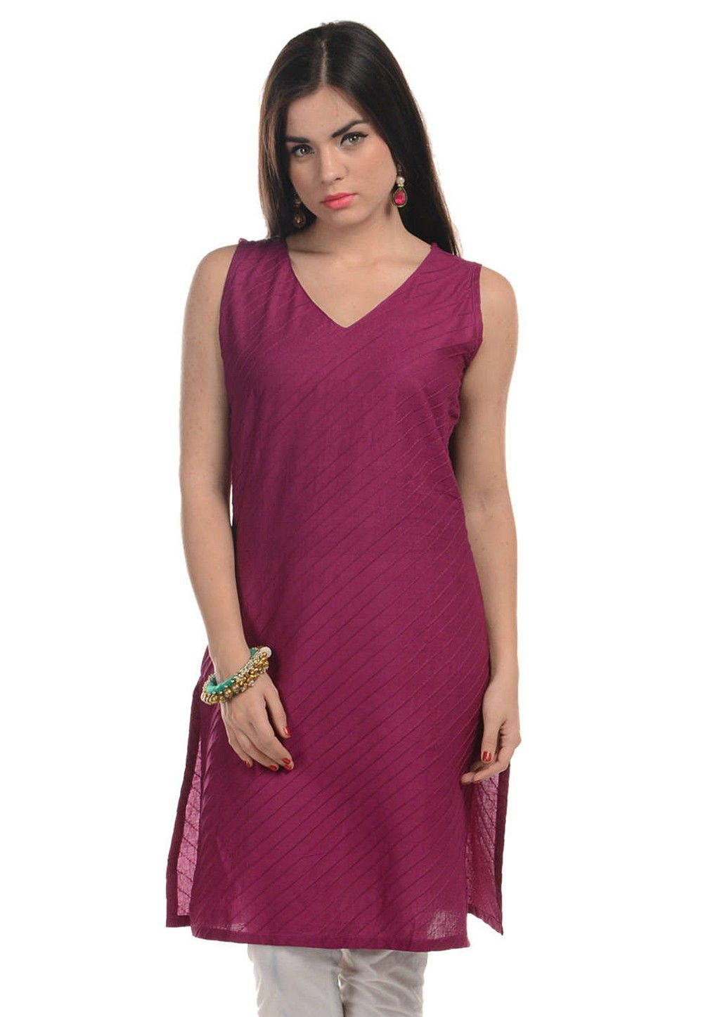 Plain Cotton Kurti in Magenta