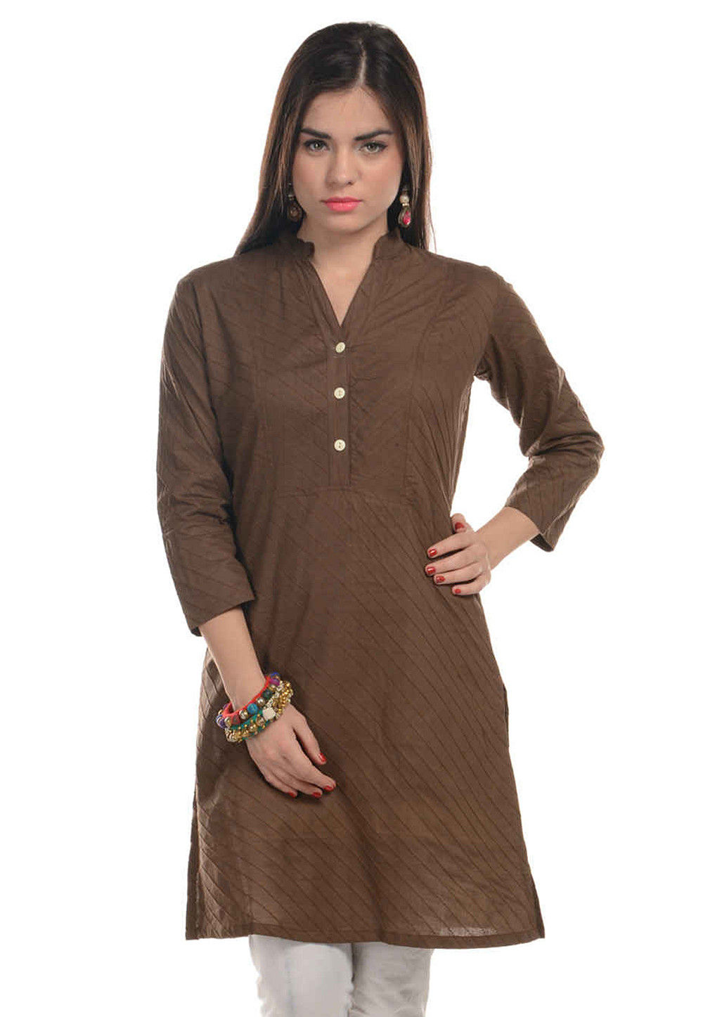Plain Cotton Kurti in Brown