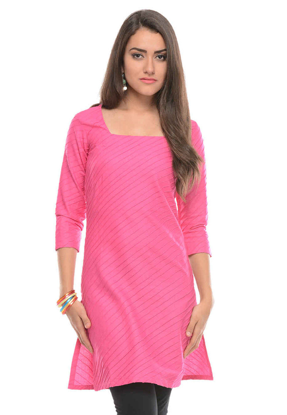 Plain Cotton Kurti in Pink