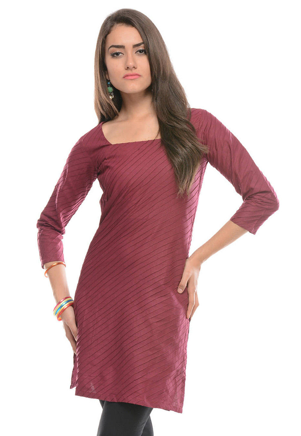 Plain Cotton Kurti in Maroon