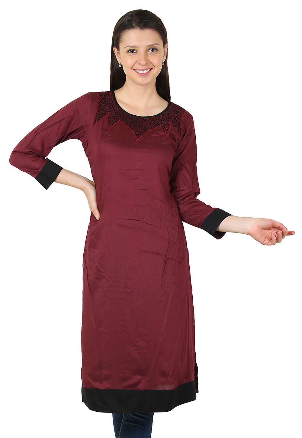 Plain Rayon Long Kurta in Brown