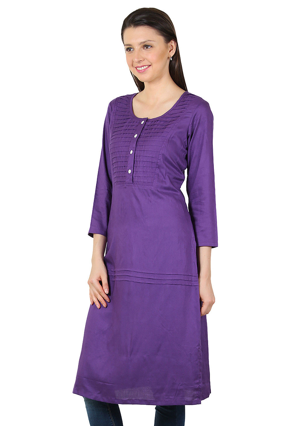 Plain Rayon Long Kurta in Purple
