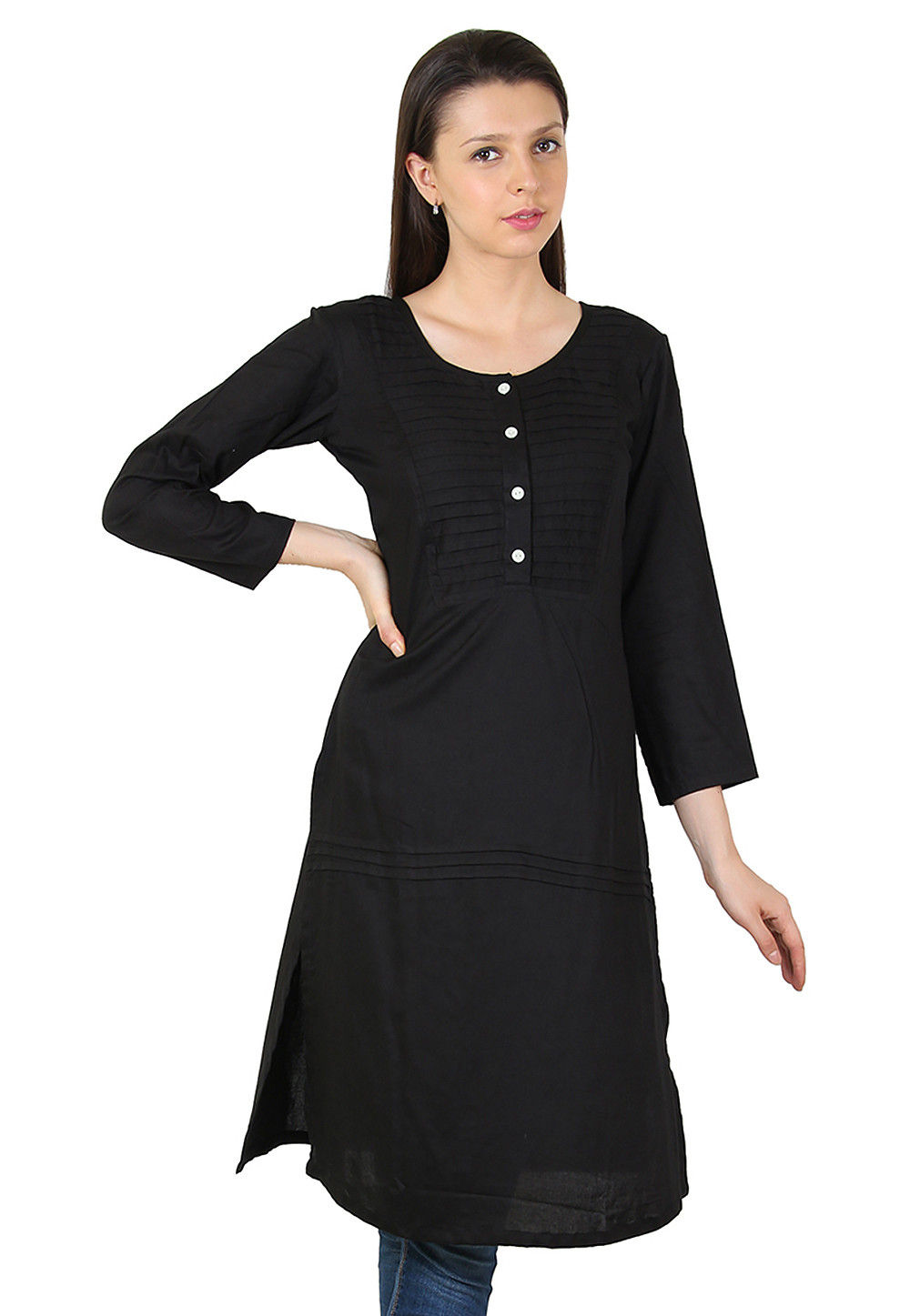 Plain Rayon Long Kurta in Black