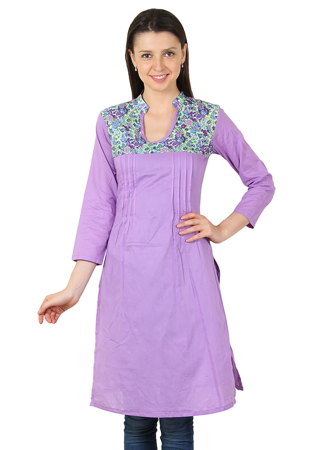 Plain Cotton Kurti in Lilac