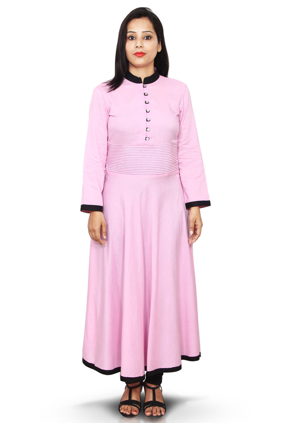 Plain Rayon Cotton A Line Kurta in Baby Pink