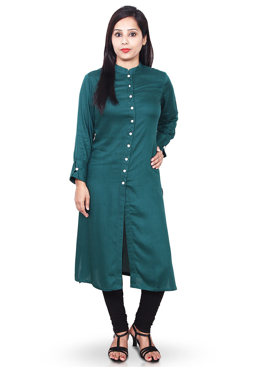 Plain Rayon Cotton Straight Kurta in Teal Blue
