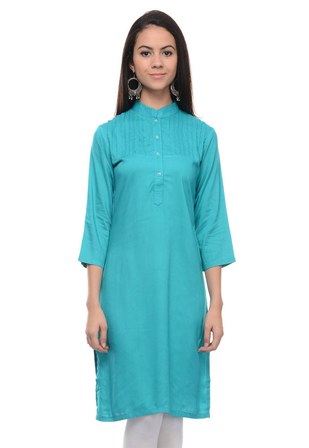 Plain Rayon Cotton Straight Kurti in Turquoise