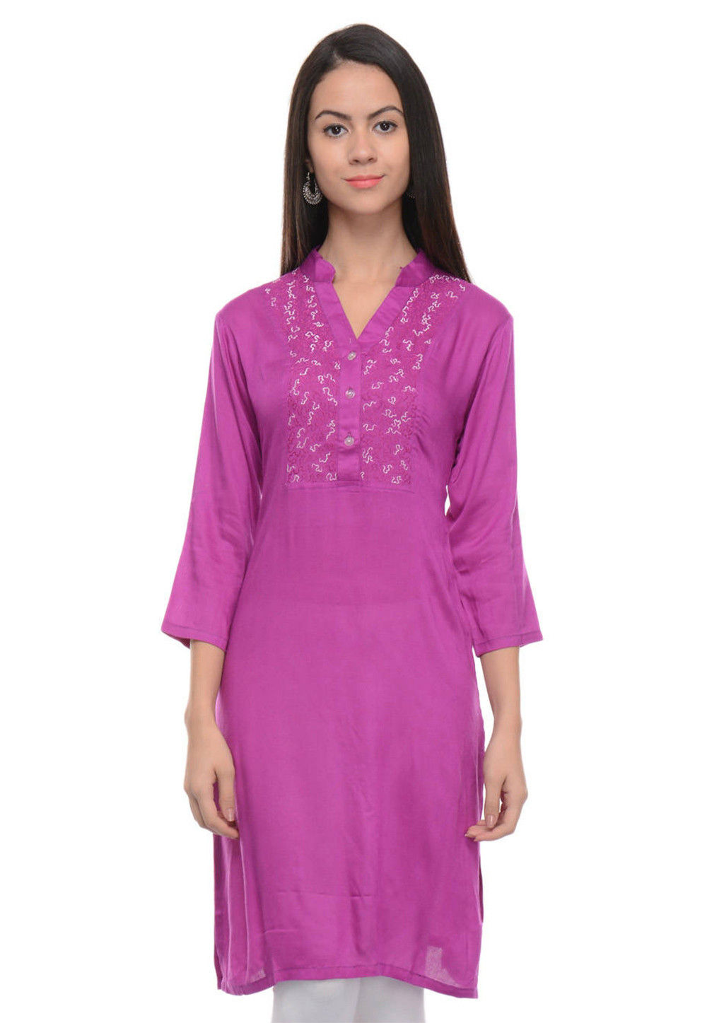 Embroidered Rayon Cotton Straight Kurti in Purple