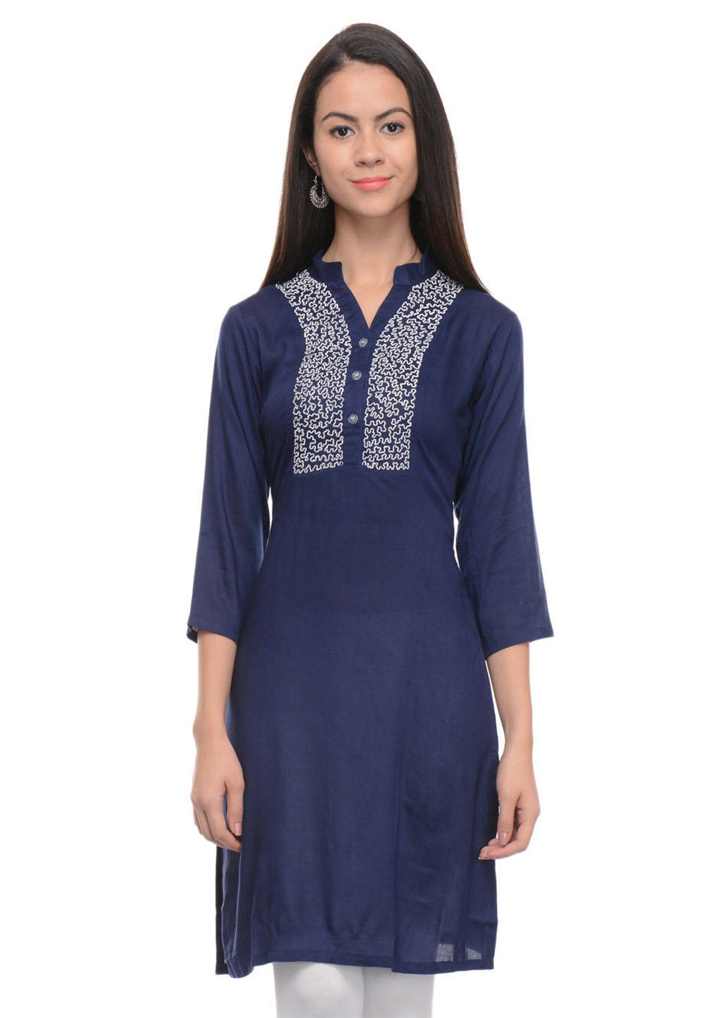 Embroidered Rayon Cotton Straight Kurti in Navy Blue