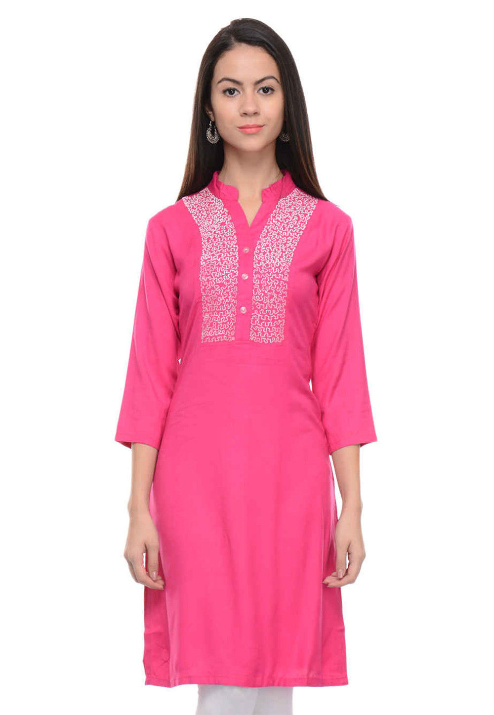 Embroidered Rayon Cotton Straight Kurti in Pink