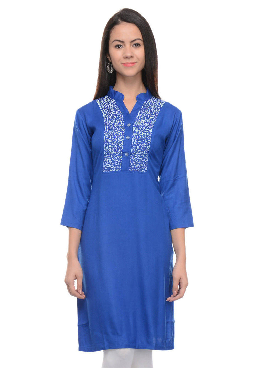 Embroidered Rayon Cotton Straight Kurti in Blue