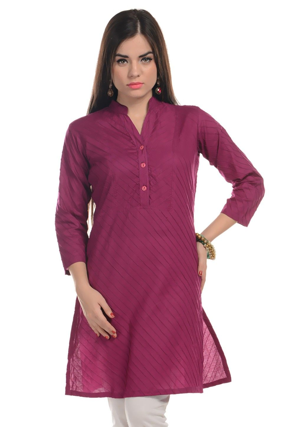 Cotton Kurti In Magenta