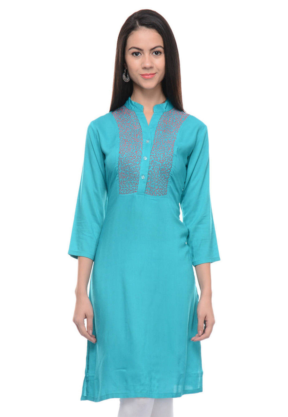 Embroidered Rayon Cotton Straight Kurti in Turquoise
