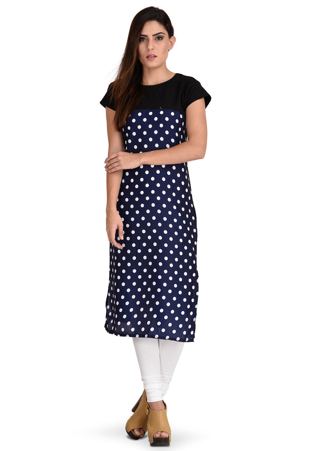 Printed Crepe Kurta in Navy Blue
