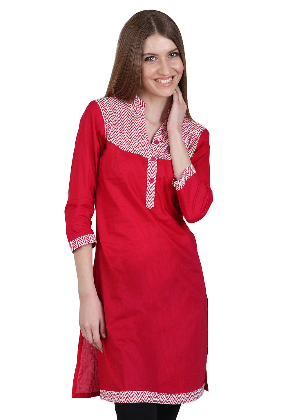 Plain Cotton Kurti in Red