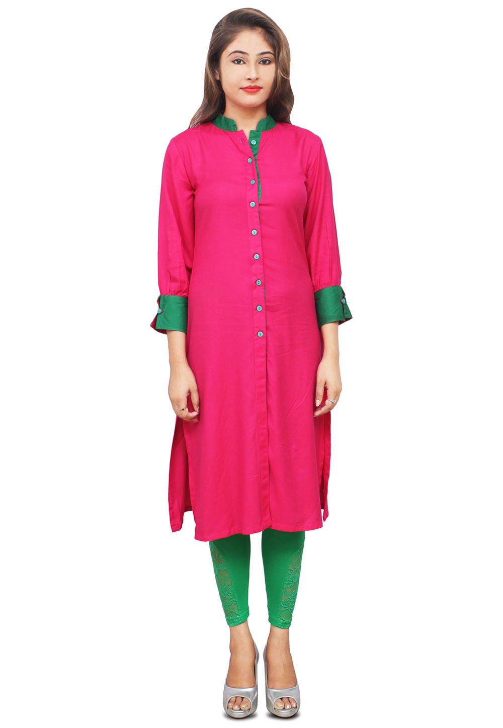 Plain Cotton Long Kurta in Fuchsia