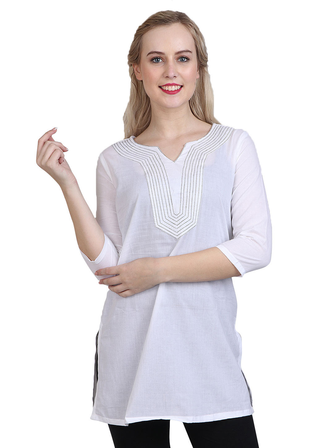 Plain Cotton Kurti in White