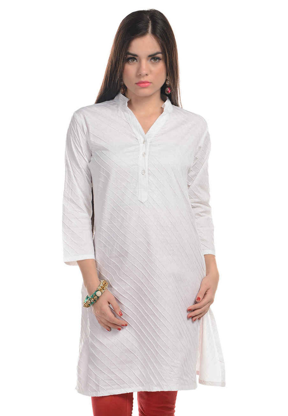 Plain Cotton Long Kurta in White